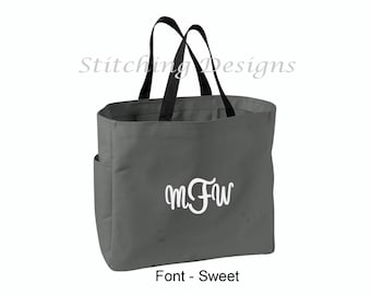 Monogrammed tote,  Bridesmaid gift, Teacher Tote Bag, Beach bag - Personalized with name or monogram - NO BOW - 18 Colors available