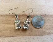 Corkscrew earrings/ wine corkscrew earrings/ winged corkscrew/ small wine earrings/ wine lovers gift/ silver corkscrew 3D