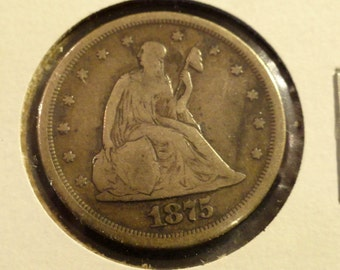 1875-S Sitting Liberty SILVER Twenty Cents Piece
