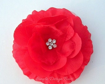 "ON SALE CLEARANCE Red Hair Flower - Red Flower Clip - 3"" Emma Flower - Hair Clip or Brooch - Rhinestone Flower - Christmas"