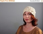 SALE Double Flower Cloche - Ivory White - 100% Merino Felted Wool Winter Hat with Flower Appliqué - Bridal, Wedding