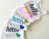 Hello World Newborn Coming Home Baby Gift Bodysuit