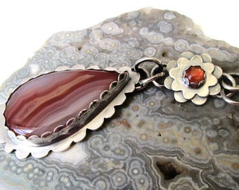 Pink Agua Nueva Agate Pendant with Orange Sunstone Flower in Sterling Silver Necklace Jewelry