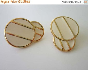 40% OFF Abstract Modernist MONET Gold tone Circular Clip on Earrings