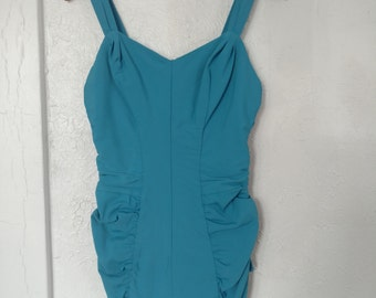 Never Worn 1950s Rose Marie Reid Magic Lengths Ruched Bottom Swimsuit with Boning Medium Large