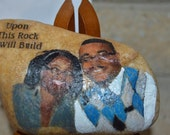 Picture Of Husband And Wife Acrylic Painted on Rock.