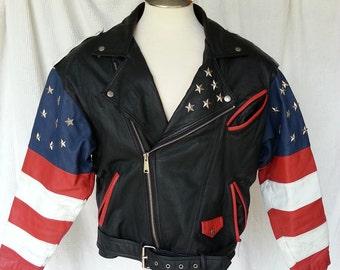 Men's Leather USA Biker Jacket Size Medium Huge Flag on Back Womans Jacket
