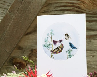 A Peek Inside the Quilted Forest II //  Art Card // Woodland Illustration