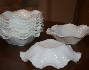 Vintage White Milk Glass Hazel Atlas Small Ruffle Diamond Pattern Bowl Cottage Romantic Chic Mid Century (Eight Available)