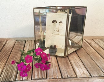 Vintage Brass and Glass Mirror Display Case In A Diamond Shape