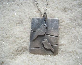 Birds on a wire Artisan jewelry Bird jewelry