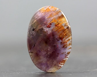 Cacoxenite in Amethyst Melody Stone Cabochon, Super Seven Rare Gem with Gold, Golden Inclusions (CA5903)