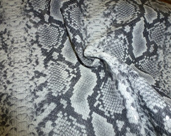 """Leather 12""""x12"""" DIAMOND Python CHARCOAL Gray and White embossed Cowhide 2.75-3 oz / 1.1-1.2 mm PeggySueAlso™ E8135-08"""