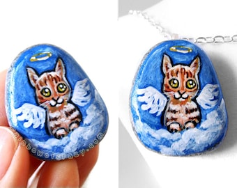 Cat Necklace, Orange Tabby Cat, Pet Portrait Stone, Rock Art, Painted Pebble, Pet Memorial Gift for Her, Angel Pendant, In Memory, Pet Loss