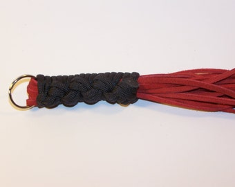 Mini Flogger Black Handle Red Suede Falls Mature