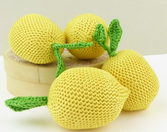 Crochet lemon, crocheted fruit, yellow soft toy, lemon play pretend, toy lemon, handmade crocheted toy for babies toddlers children (1 pc)
