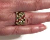 Ruby Emerald Sapphire Diamond Ring - 18k Gold - Precious Gemstones - Vintage