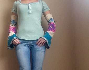 Upcycled Fair Isle Neon Sweater Flared Arm Warmers