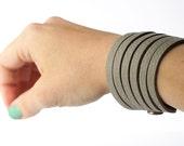 Leather Bracelet / Original Sliced Cuff / Domino / #141