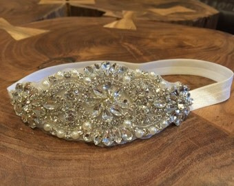 Baby Headband, rhinestonr elastic headband, Fancy rhinestone,Baby Girl Princess headband , Baptism,wedding flower girl headband