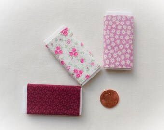Dollhouse Miniature Set of Three Bolts of Fabric - Pink and Violet, One inch scale, 1:12 Scale