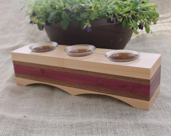 Long Three Cup Votive Candle Holder in Maple, Walnut and Purple Heart