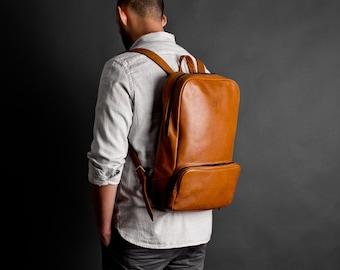 Leather backpack, leather rucksack, laptop backpack // MANGART (Brown)