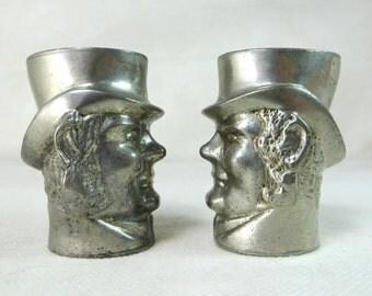 SALE! Retro Cruet Set, Mid Century John Bull Figural Silver Metal Character Salt & Pepper Condiment Containers 1950s