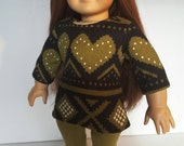 18 Inch Doll Clothes Capris SWEATER Top With Leggings In Olive and Black