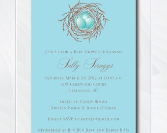 Baby Bird Blue Shower Invite, Bird Baby Shower Theme Boy, Bird's Nest Invitation, Printable Baby Shower Invitation, Boy Nest Invite