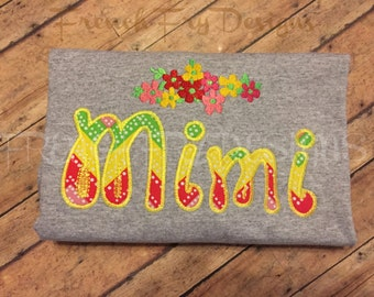 MIMI applique shirt for Grandmother Customized and Personalized