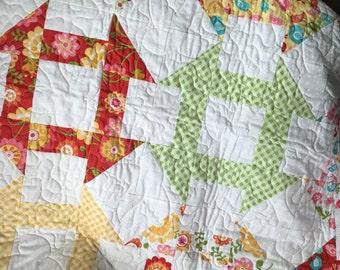 Baby Quilt Handmade Child Bright Riley Blake Hello Sunshine with Birds Fabric Crib Quilt, 37.5 x 37.5, baby crib quilt, tummy time quilt