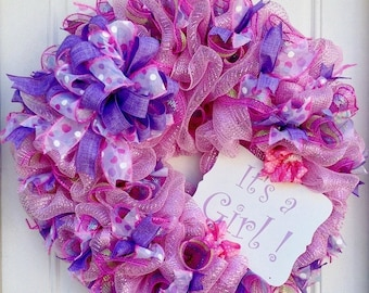 It's A Girl Pink Mesh Wreath