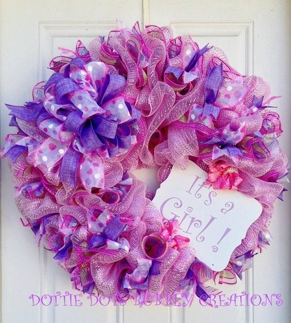 It's A Girl Pink Mesh Wreath