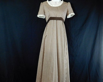 Vintage 70s maxi brown gingham and eyelet lace prairie dress