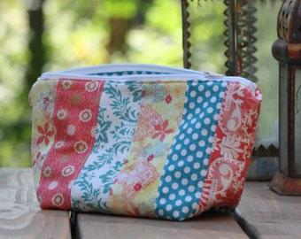 Boho Zipper Pouch, Travel Bag, Cosmetic Bag, Diaper Bag, Large