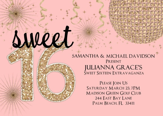 Blush and Gold Sweet 16 Birthday Party Invitation - Pink and Gold Glitter Custom Invite Choose Your Color