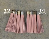 Indian Pink Leather TASSEL in 13 or 14mm Cap -4 colors Plated Cap- Pick cap size, cap color & trimmed size