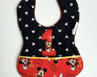 Boy Custom 1st Birthday Mickey Mouse Bib, baby's first birthday, Mickey Mouse 1st birthday, Disney 1st birthday, Mickey Mouse Birthday Party