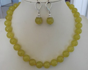 jewelry set- jade necklace, jade necklace earring set, 12mm yellow green jade necklace