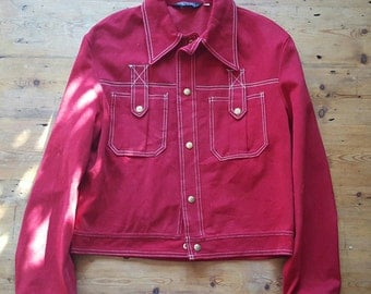 Vintage Oxblood Western Tyle Button Down Like Velvet Campus Jacket, Size L