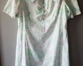 Vintage 100% Pastel Cotton Handmade Hippie Dress with 60's Wide-Point Collar, A Frame.L-XL-Plus