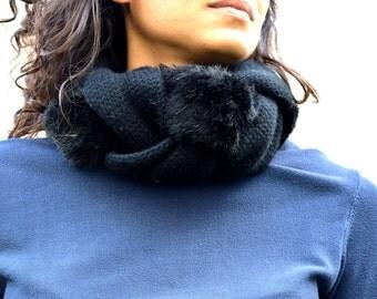 Black Scarf woman, infinity scarf, Loop winter scarf