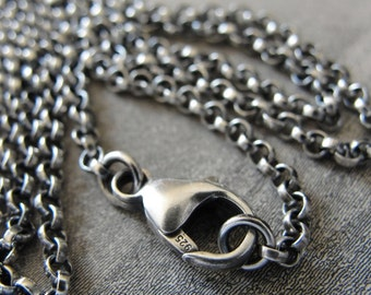 Sterling Silver rollo chain 16 inch long necklace (2.1mm) antique style oxidized for RQP Studio wax seal jewelry