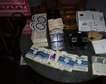 Vintage Sawyer's Stereoscope View-Master 100+ Reels 1940-60s Rare library box