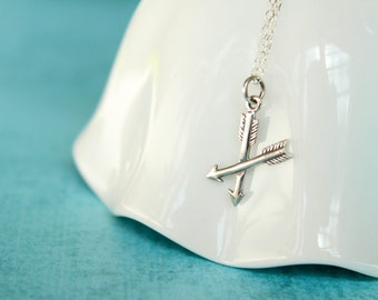 Crossed Arrows Necklace in Sterling Silver