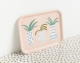 Tray, serving tray, memphis milano, illustration Depeapa, cactus and plants, rectangular tray, geometric vases, birch wooden tray, breakfast