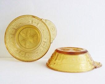Vintage yellow glass bowls, ramekins
