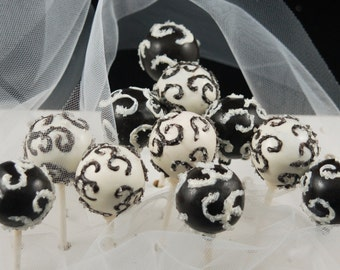 CAKE POPS, Elegant Scroll Design Cake Pops, Wedding Favors, Bridal Shower Favors