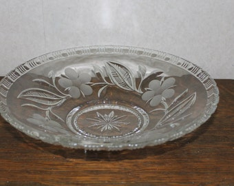 Vintage Crystal Glass Serving Bowl with Frosted Flowers